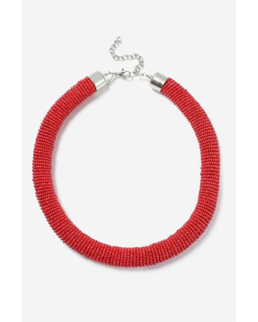 TOPSHOP | Red Block Bead Tube Necklace | Lyst