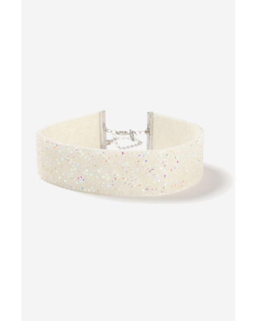 TOPSHOP | White Wide Facet Choker Necklace | Lyst