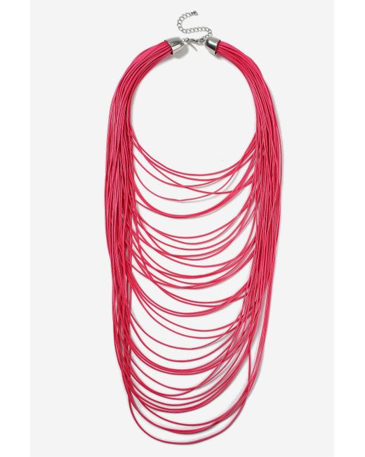 TOPSHOP   Pink Multi-row Cord Necklace   Lyst