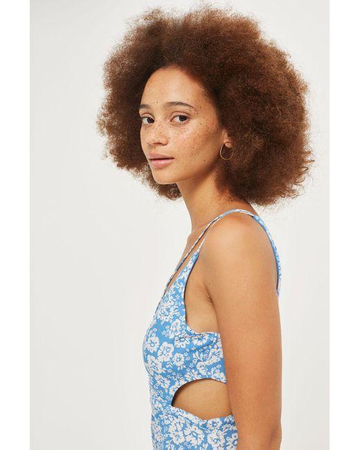 TOPSHOP | Blue Petite Floral Slip Dress | Lyst