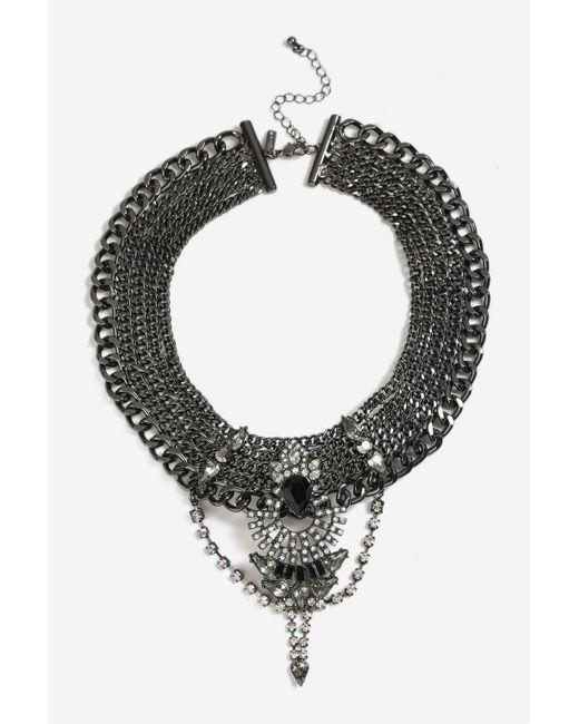 TOPSHOP | Multicolor Embellished Gunmetal Collar Necklace | Lyst