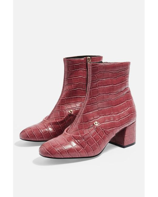 TOPSHOP - Red Boston Heeled Boots - Lyst