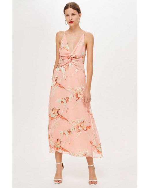 Lyst Topshop Tall Twist Front Burnout Dress In Pink
