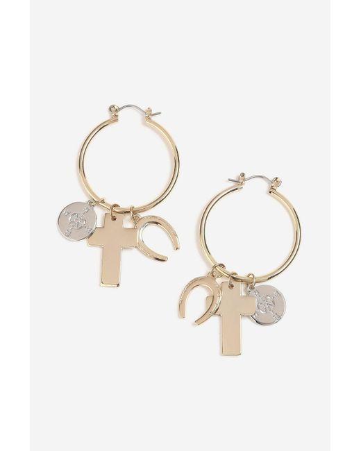 TOPSHOP - Metallic Cross Charm Hoop Earrings - Lyst