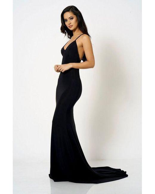 097581afb1 Club L - Black cross Back Fishtail Maxi Dress By London - Lyst ...