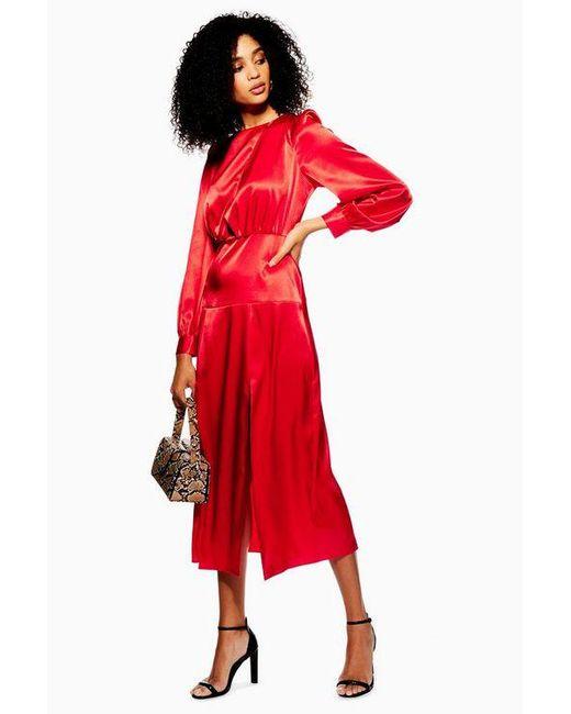 TOPSHOP - Red Cutout Midi Dress - Lyst