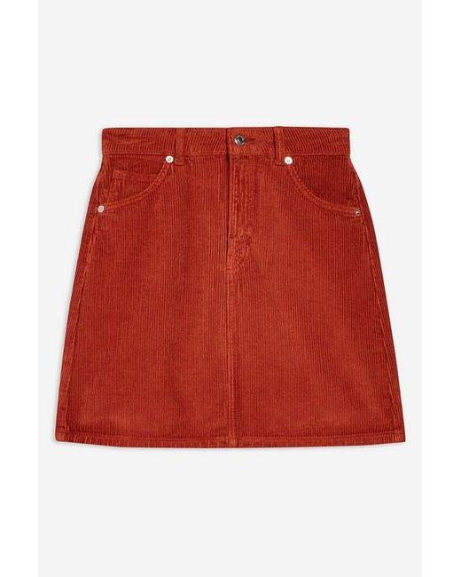 7ec5d35eced0 ... TOPSHOP - Red Tall Corduroy Skirt - Lyst
