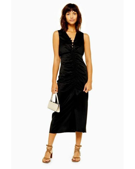 40c8b4425da77 TOPSHOP Black Ruched Midi Dress in Black - Lyst