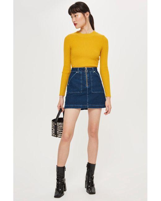 5d77b9d8fd Lyst - TOPSHOP Utility Zip Up Denim Skirt in Blue - Save 33%