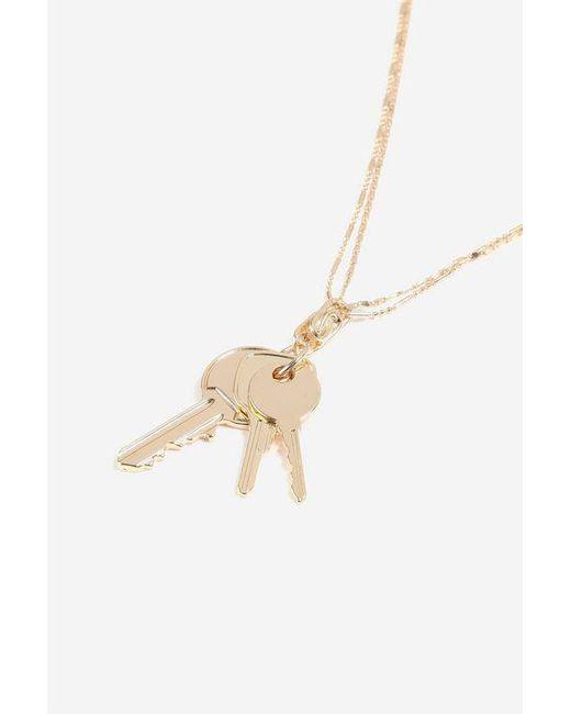 TOPSHOP - Metallic Multi Key Pendant Necklace - Lyst