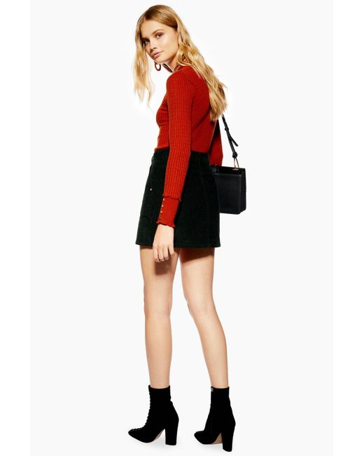 f3e90df9a0 ... TOPSHOP - Black Petite Corduroy Zip Skirt - Lyst
