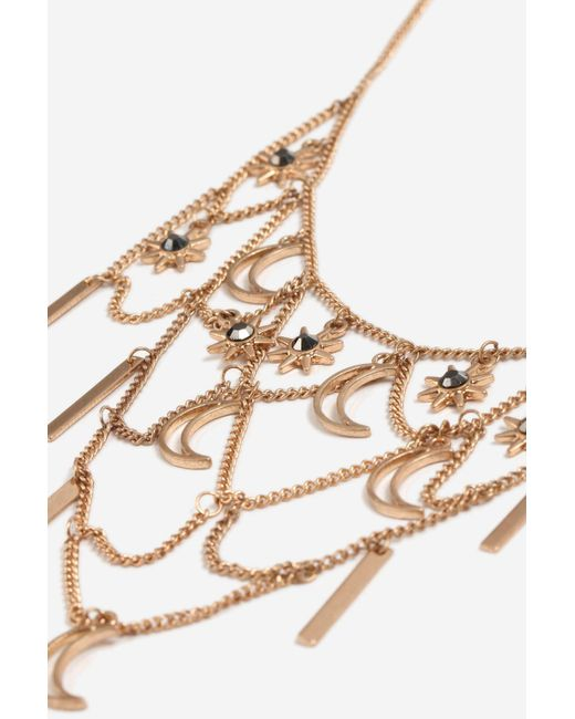 TOPSHOP | Metallic Star And Moon Collar Necklace | Lyst