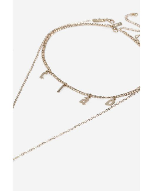TOPSHOP - Metallic Ciao Cross Charm Necklace - Lyst