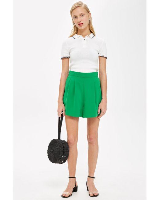 TOPSHOP - Green Flippy Shorts - Lyst