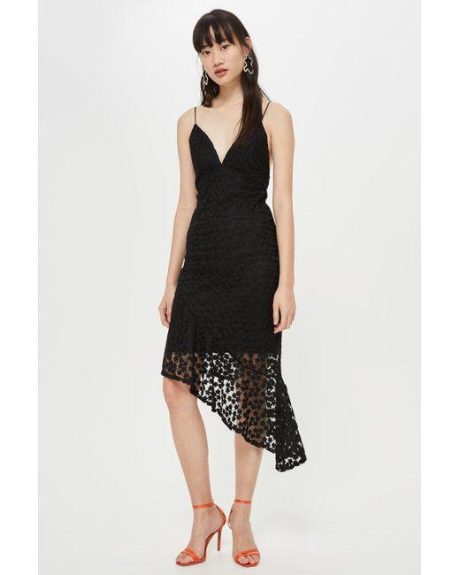 TOPSHOP - Black Lace Plunge Asymmetrical Slip Dress - Lyst