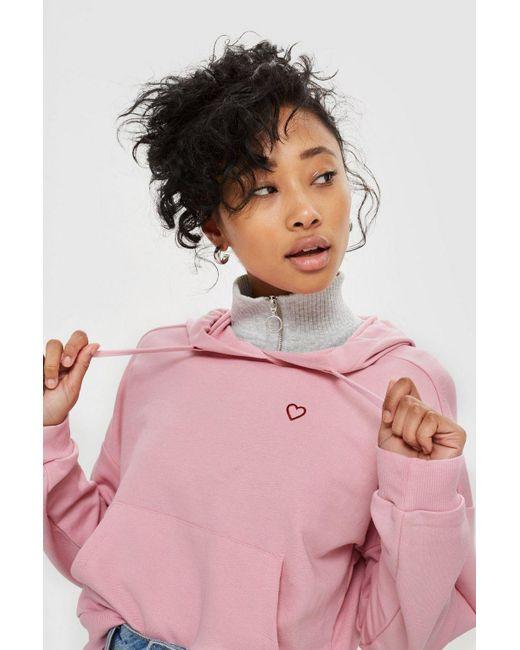 TOPSHOP - Pink Heart Outline Hoodie - Lyst