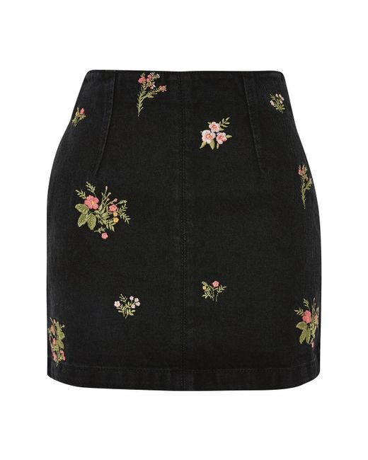 TOPSHOP | Black Moto Floral A-line Skirt | Lyst