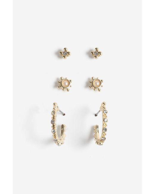 TOPSHOP   Multicolor Rhinestone And Pearl Stud Earrings   Lyst