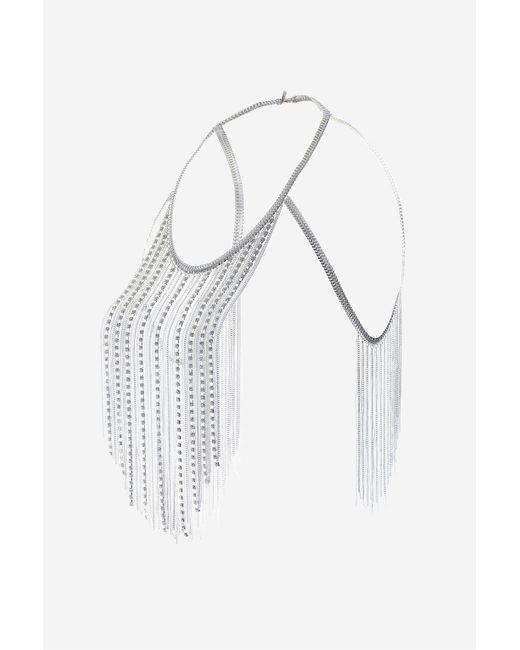 TOPSHOP   White Rhinestones & Tassel Body Chain   Lyst