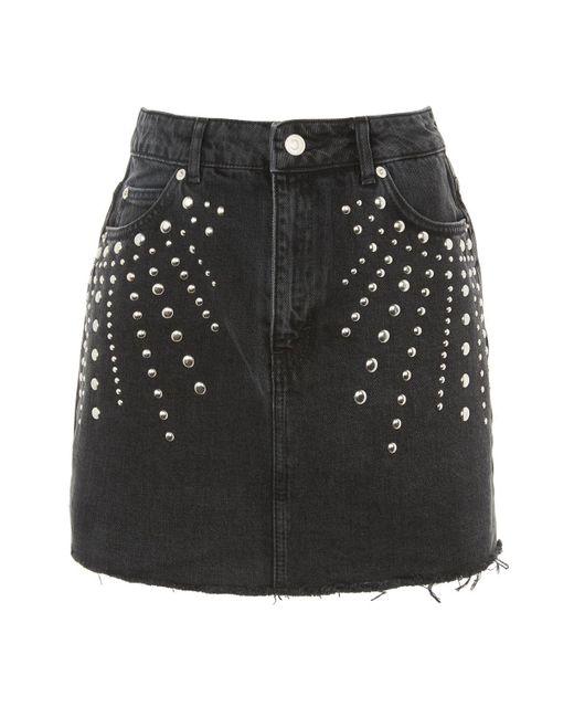 TOPSHOP | Black Moto Studded Denim Mini Skirt | Lyst