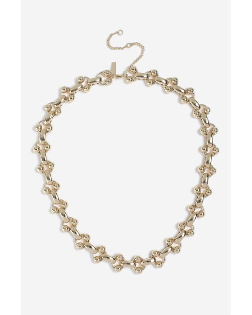 TOPSHOP - Metallic ball Linked Chain Necklace - Lyst