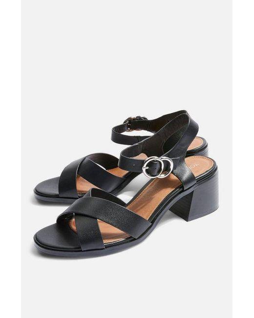 TOPSHOP - Black Deedee Block Heel Sandals - Lyst
