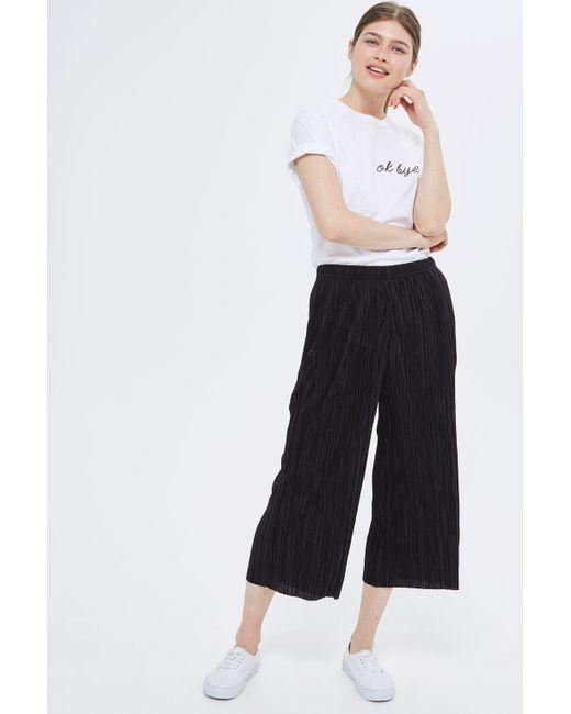 TOPSHOP | Black Tall Plisse Awkard Trousers | Lyst
