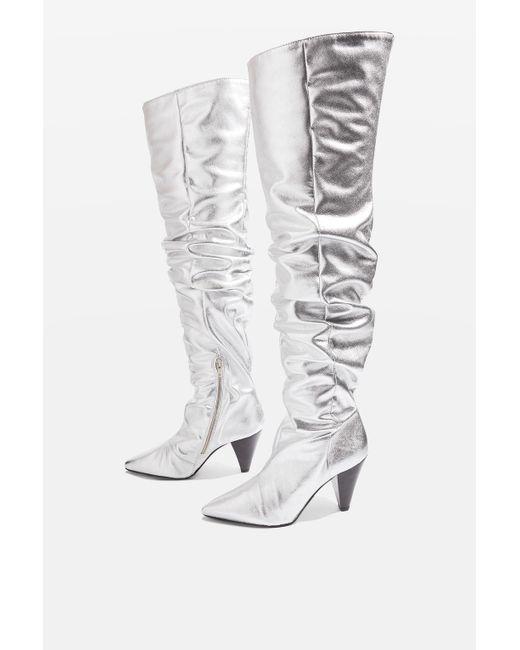 TOPSHOP | Metallic Boxer High Leg Patent Boots | Lyst