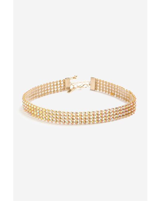 TOPSHOP   Pink Iridescent Stone Choker Necklace   Lyst