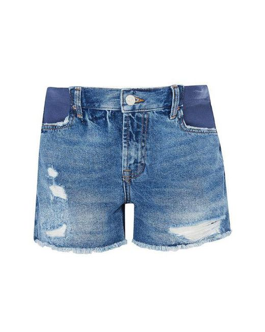 TOPSHOP - Blue maternity Ripped Ashley Shorts - Lyst