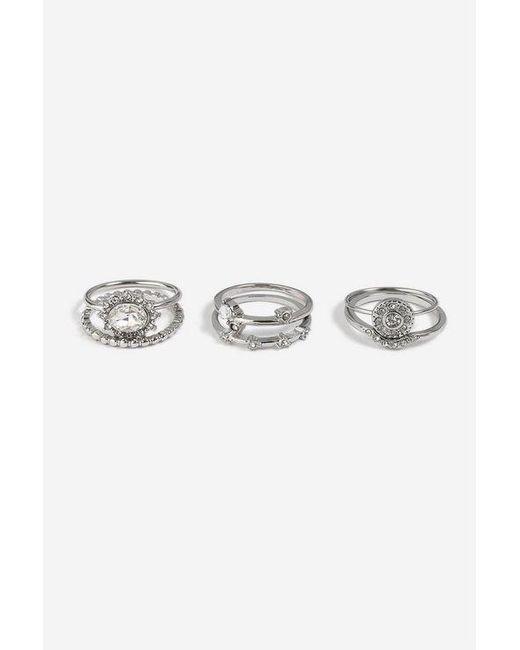 TOPSHOP - Metallic 6 Pack Rhodium Rings - Lyst