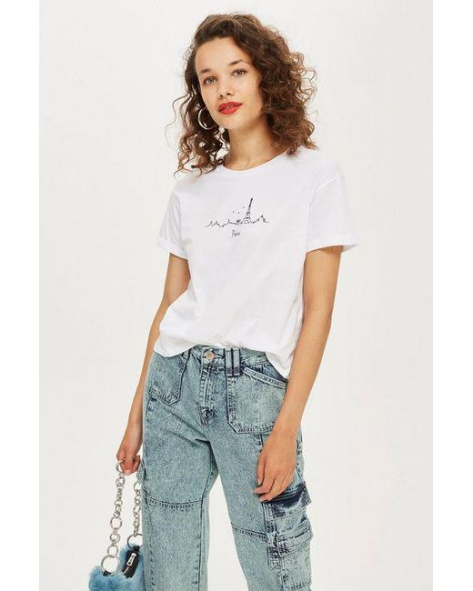 9066dc3c322 TOPSHOP - White Petite Paris Embroidered Skyline T-shirt - Lyst ...