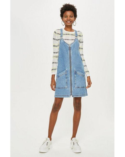 TOPSHOP - Blue Tall Double Zip Pinafore - Lyst