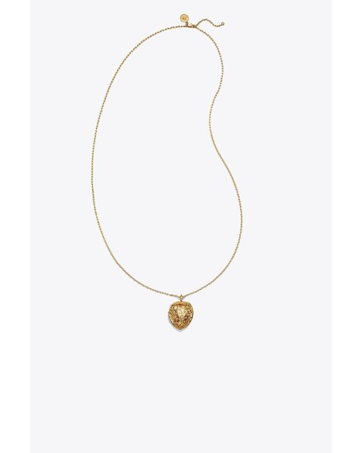 Tory Burch - Metallic Walnut Locket Necklace - Lyst