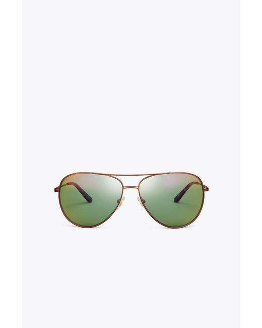 Tory Burch - Green Full-rim Pilot Sunglasses - Lyst