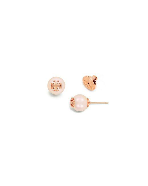Tory Burch | Pink Crystal-pearl Stud Earring | Lyst