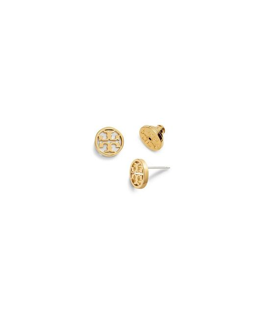 Tory Burch | Metallic Logo-circle Stud Earring | Lyst