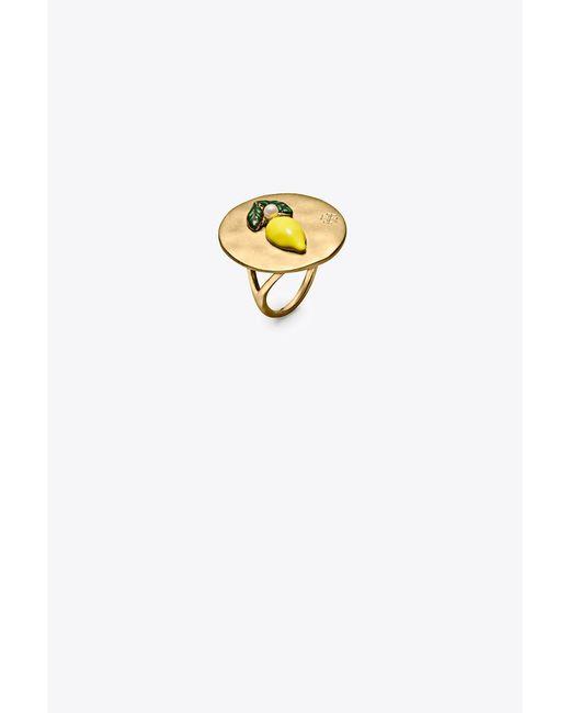 Tory Burch | Metallic Lemon Coin Ring | Lyst