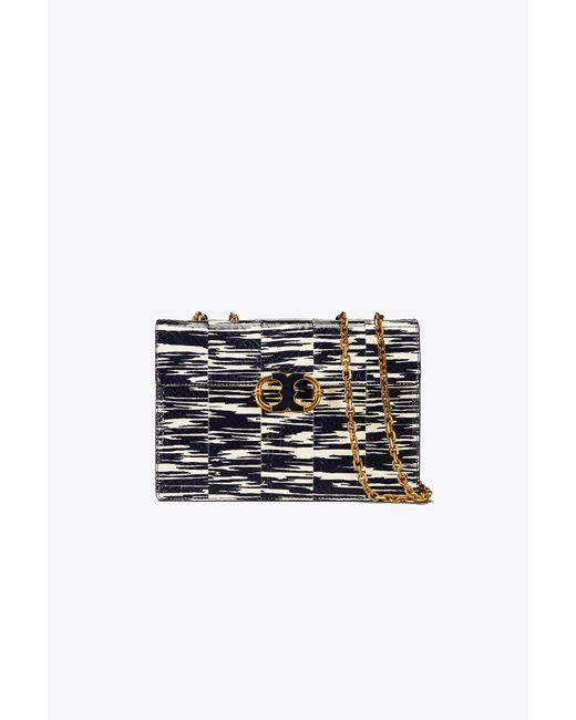 Tory Burch - Blue Gemini Link Snake Medium Chain Shoulder Bag - Lyst