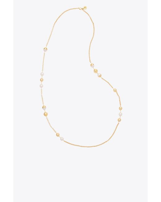 Tory Burch | Multicolor Capped Crystal Pearl Chain Rosary | Lyst