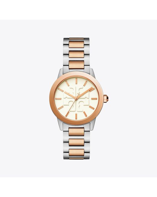 Tory Burch - Metallic Gigi Watch, Two-tone/cream, 36 X 42 Mm - Lyst