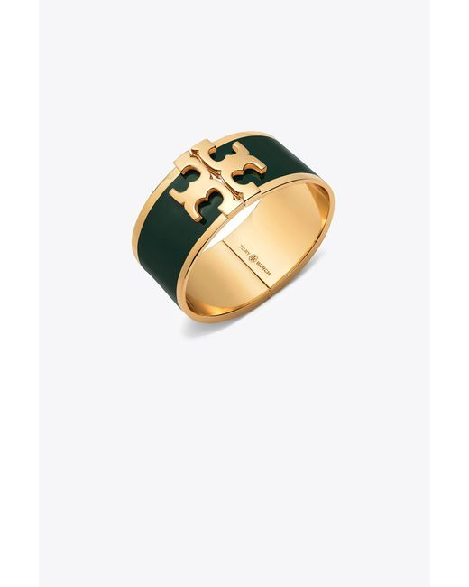 Tory Burch - Metallic Enameled Raised-logo Wide Bracelet - Lyst