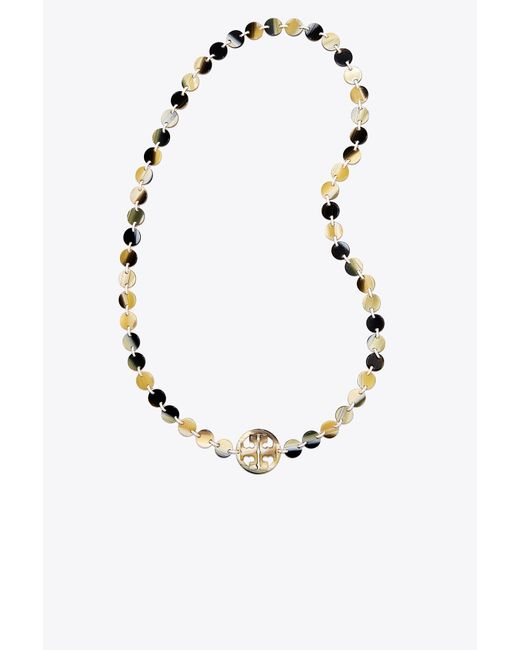 Tory Burch | Metallic Resin Logo Necklace | Lyst