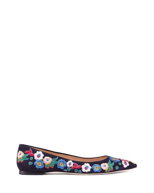 Tory Burch | Blue Rosemont Embroidered Ballet Flat | Lyst