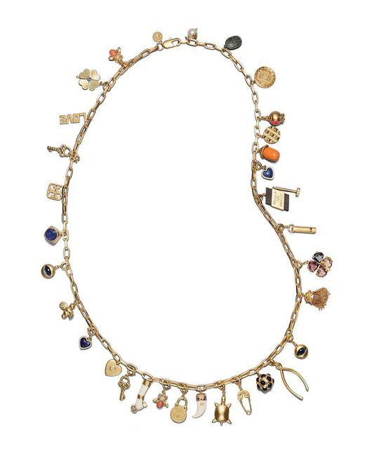 Tory Burch | Metallic Long Charm Statement Necklace | Lyst