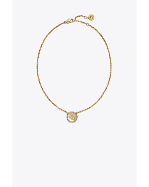Tory Burch - Metallic Semiprecious Pendant Necklace - Lyst