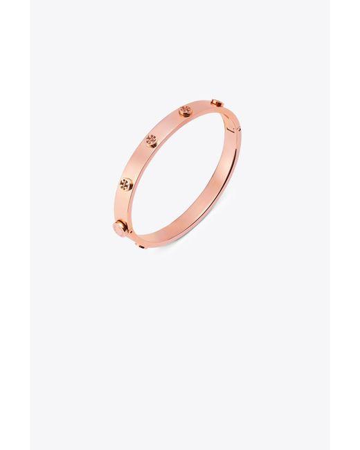 Tory Burch | Pink Logo Stud Hinge Bracelet | Lyst