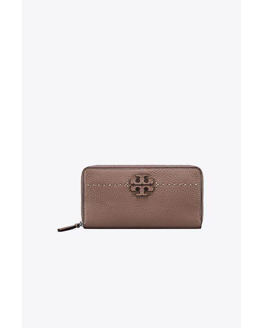 Tory Burch | Brown Mcgraw Zip Continental Wallet | Lyst