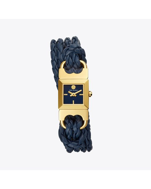 Tory Burch - Double T Link Braided Watch, Blue Leather/gold-tone, 18 Mm - Lyst
