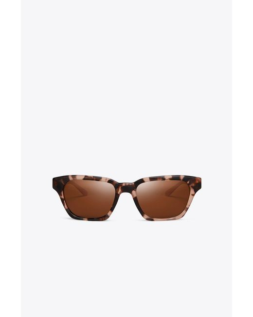 Tory Burch - Brown Rectangular Stacked-t Sunglasses - Lyst